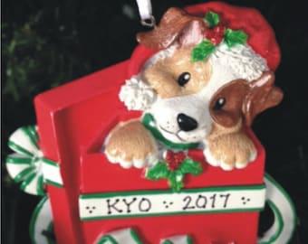 Christmas Puppy Ornament FREE SHIP - Personalized Dog Ornament / New Puppy / Christmas Puppy / Dog Present
