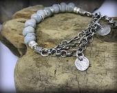 Beachy Triple Strand Sterling Silver Moss Aquamarine Bracelet