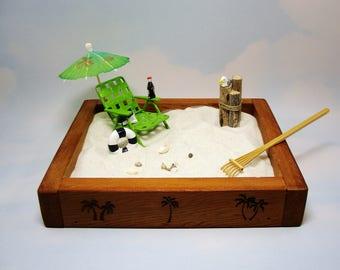 miniature zen beach garden kit, metal chair, beverage, life ring, shells and more