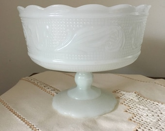 Milk Glass Footed Compote