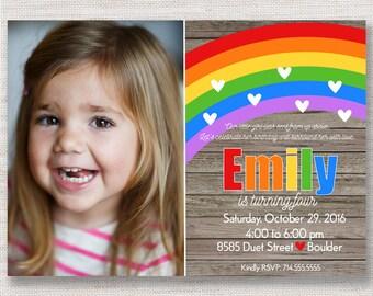 Rainbow Birthday Invitations | Rainbow Invitation | Rainbow Party Invite | First Second Birthday | Heart | Picture | Girls Birthday DIY