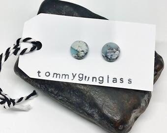 Glass Stud Earrings, Light Blue Cobblestone