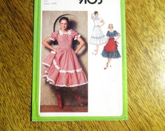 "VINTAGE 1970's Country Western Dress w/ Full Skirt - Peasant Gown & Apron - Size 10 (Bust 32.5"") - UNCUT FF Sewing Pattern Simplicity 9103"