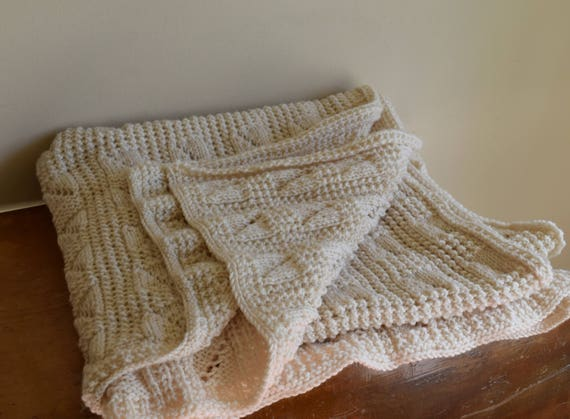 Vintage Handmade Cream Crocheted Throw Blanket / Afghan - French Farmhouse, Rustic, Natural, Lake House, Cabin