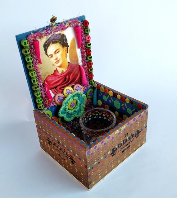 Frida Kahlo Cigar Box Shrine Ofrenda Altar - Mixed Media One of a Kind Assemblage