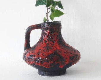 Mid Century Large Black and Red Pottery Vase 47-15 by Heinz Martin for Jopeko