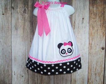 Panda Pillowcase Dress / Girl Bear / Pink / Cute / Birthday / Infant / Baby / Girl / Toddler / Handmade / Custom Boutique Clothing