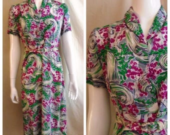 RESERVED Vintage 1940s Rayon Print Day Dress Novelty Print Whirlpools and Flowers Medium Petite