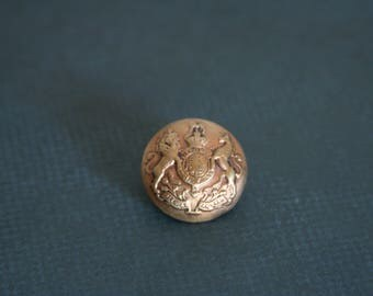British Military Brooch Royal Family Crest Pin - made with a vintage button