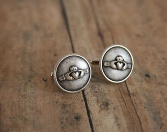 Claddagh Cufflinks Irish Cuff links Mens Accessories - made with pewter buttons