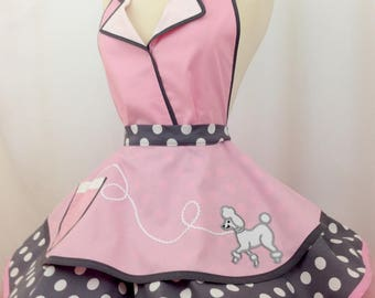 Poodle Girl Pin Up Apron, Sexy Costume Apron, Pink & Gray, Polka Dots
