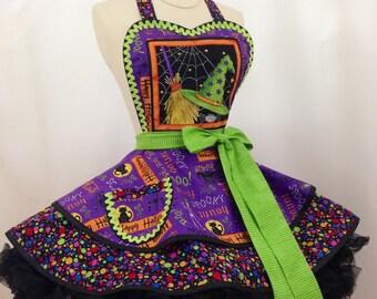 Halloween Witchey Wardrobe Pin Up Apron- Ready To Ship, Halloween Party