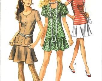 Mini Skirt Pattern Two Piece Dress 3 Versions Scoop Neck Retro Long Top 1970s Simplicity 8780 Sz 16 Bust 38