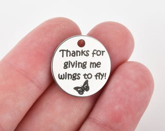 """TEACHER Charms, Silver Stainless Steel Quote Charms, Thanks for giving me wings to fly, School Charms, 20mm (3/4""""), choose quantity, cls0211"""