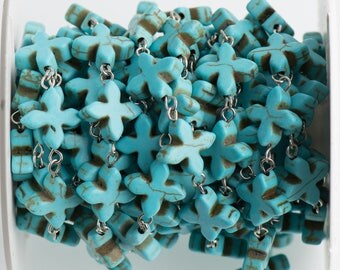 10 ft spool TURQUOISE HOWLITE Fancy Cross Bead Rosary Chain, gemstone chain, SILVER links, 14mm gemstone beads, fch0710b