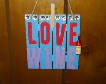 "Small Wooden I Love Wine Sign- I Love Wine Sign- Small Wooden Sign- Kitchen Sign- Wine Sign- 4"" x 4"" Wooden Kitchen Sign-  Kitchen Signs"