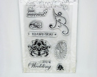 8 pcs Clear Stamps Wedding, just married, I love you, our wedding, flower, love birds
