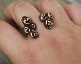Flower Ring, Flower Jewelry, Copper Flower, Two Finger Ring, Copper Flower Ring, Rose Jewelry, Rose Ring, Between The Finger, Adjustable