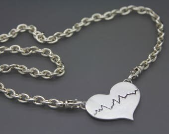Actual Heartbeat Necklace, Personal Heartbeat, Custom EKG Necklace, Silver Heartbeat, Gold Heartbeat, Custom Heartbeat Jewelry, Pulse