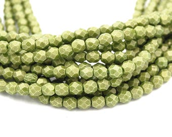 Fire Polished Sueded Gold Olive Green Glass Bead 4mm Round - 50