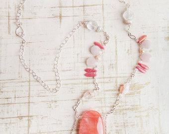 Rose Quartz Necklace, Pink, Rose Quartz, Quartz, Large Pendant Necklace, Pink Silver Necklace, Stone Necklace, Chunky Necklace, Pink Pendant