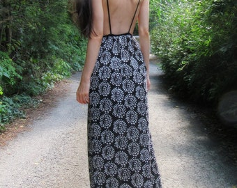 SUMMER SALE! moon bloom - kantha block print paired with vintage black floral lace - bohemian chic hippie festival wedding maxi dress small