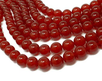 Red Malaysia Jade - 14mm Round Bead - 28 or 14 beads - Whole or Half Strand - red quartz - Malay jade - cherry ruby translucent stone