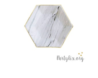 Marble Grey Hexagon Party Plates | Gray and Gold Party Plates | Grey Small Paper Plates - Set of 8