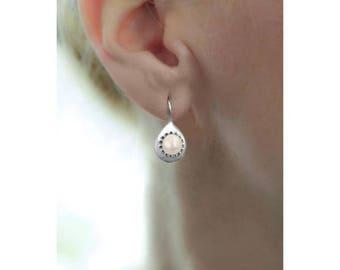 Pearl Teardrops Earrings, Pearl Earrings Dangle, Pearl Drop Earrings, Pearl Earrings Wedding, Pearl Earrings Silver, white pearl earrings