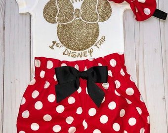 My 1st Disney Visit Onesie, Minnie Mouse girl Onesie, Knot Bow Headband, Complete Baby or Toddler Set, First Disney Trip,Minnie Mouse Ears