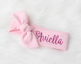 Personalized baby etsy personalized baby headband personalized headband for girls name baby headband personalized name bow negle Image collections