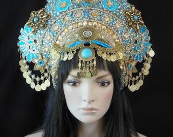 MadeToOrder crown Can create similar Wedding Bridal Hindu golden goddess kuchi coins Indian India Bollywood Belly dance Headdress headpiece