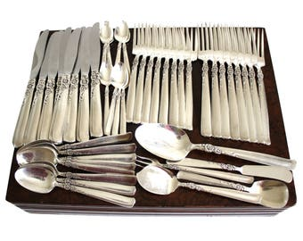 "Prestige Silverplate Flatware Set with Chest ""Gay Adventure"" Floral Silverware"