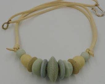 River Pebble Ceramic Bead Necklace