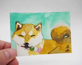 Shiba Inu with dango - tiny original painting, watercolor painting, mini painting, dog painting, kawaii Shiba Inu, mochi ACEO, ATC, OOAK