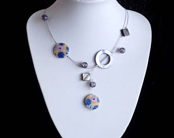 Flower Necklace, Illusion Necklace , Mother Of Pearl Shell Necklace, Gift For Her, Round Shell Necklace