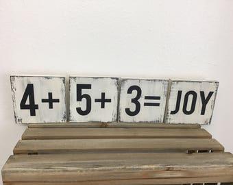 Letter wall tiles - wood letter blocks - Farmhouse letter signs - custom colors
