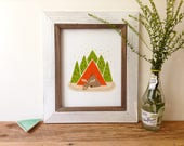 Moose Camping - Art Print 5x7, 8x10, 11x14