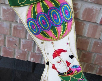 Vintage COMPLETED Bucilla Felt Christmas Stocking - Santa in Hot Air Balloon - Large Daddy Stocking - Sequins Glitter - Holiday Decor