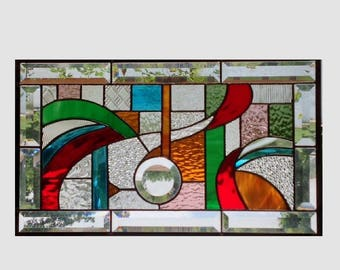 Abstract stained glass panel window geometric multi color stained glass window panel window hanging colorful 0260 19 1/2 x 11 1/2