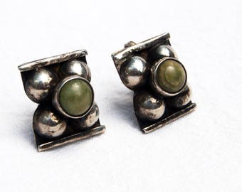 Antique Mexican Earrings Green Stone Screw Backs Traditional Artisan Jewelry Vintage Screwback Earring