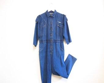 Vintage 1980s Jumpsuit   Medium Wash Dreams Brand 80s Denim Jumpsuit   size medium - large