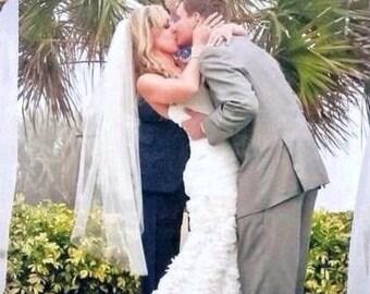 Fingertip wedding veil with blusher, 2 tier wedding veil