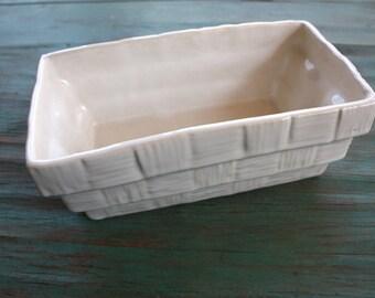 White Basket Weave McCoy Pottery Planter, Succulent Planter, Vintage Planter, Indoor Garden, McCoy, White McCoy Pottery, Planter