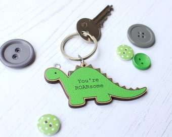 Dinosaur Keyring - Dinosaur key ring - Keyring for him - Keyring for Dad - Anniversary gift - Dinosaur lover - Cute keyring