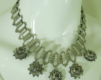 1940s Victorian Revival Charm Necklace Bookchain Rose Form Puffy Charms Bib Necklace