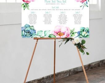 Seating Chart on Foam Core - Peonies and Succulents (Style 0020)