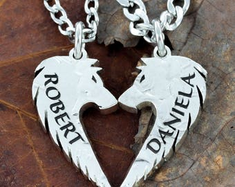 Wolf Couples Necklaces with names custom engraved, Wolves make a heart, hand cut US coin