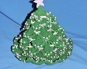 Hand Crochet Christmas Tree Purple Trim Star Bow Starched Crocheted Holiday Centerpiece