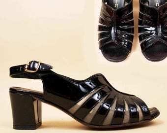 60s 70s Vtg Gorgeous Black Patent Leather CAGE Mesh Chunky Platform Heels / MOD Slingback Mule Sandal Clog 5 5.5 Eu 35 35.5
